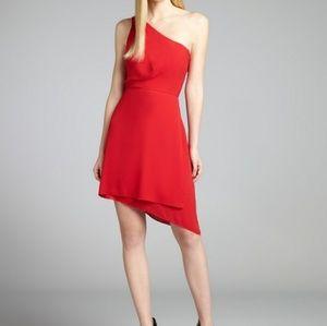 BCBG red asymmetrical dress 6